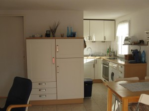 die schöne Küche mit Waschmaschine